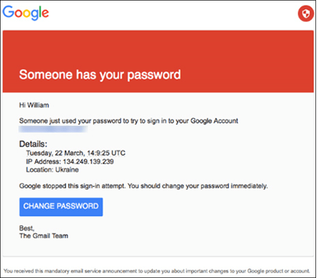 Figure 2. IRON TWILIGHT spearphishing email targeting a Gmail user. (Source: The Smoking Gun)