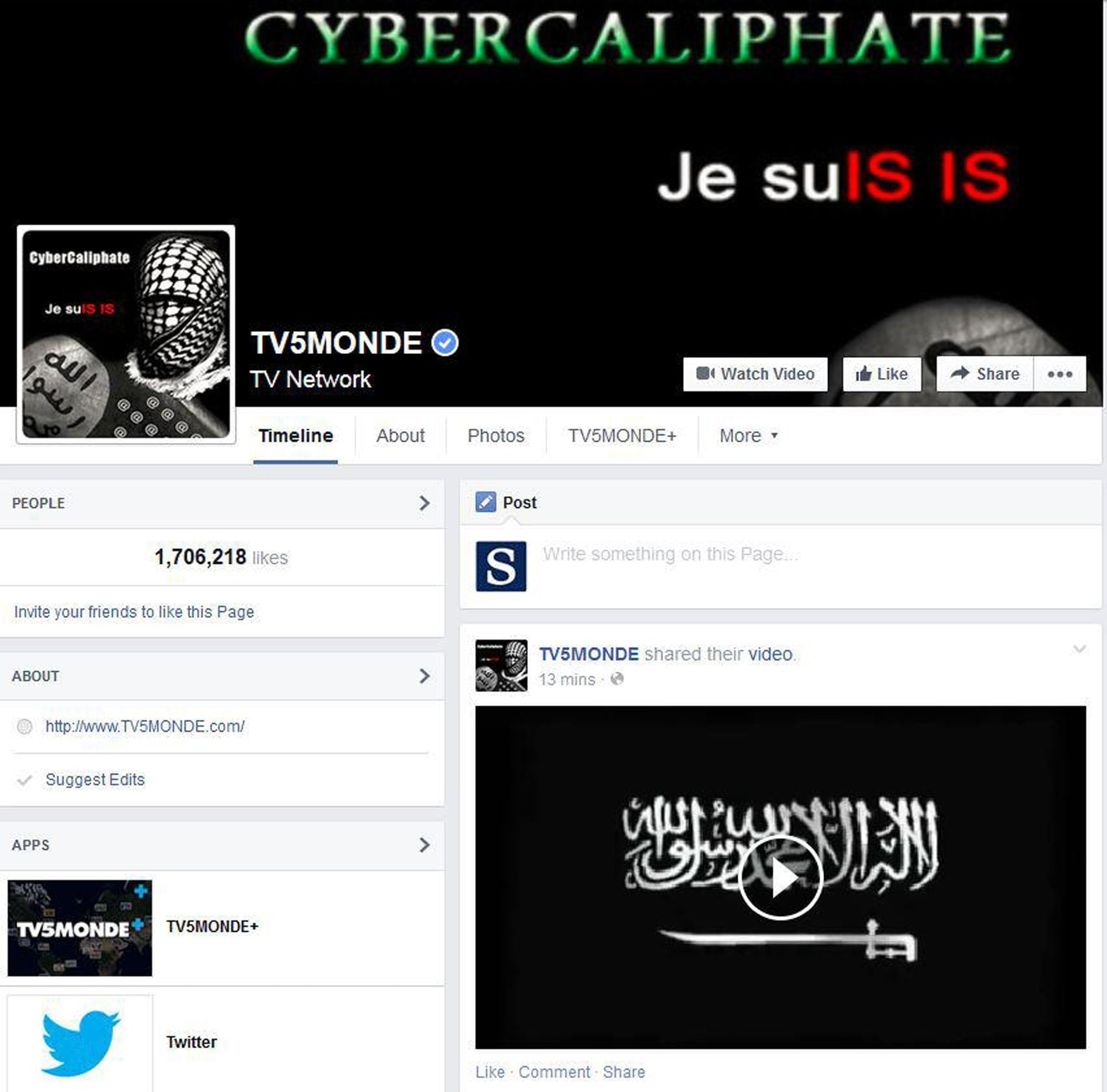 Figure 3. CyberCaliphate message left on TV5Monde's Facebook page. (Source: Los Angeles Times)